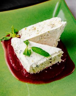 Pistachios cheesecake walnuts jam raisin mint tea side view