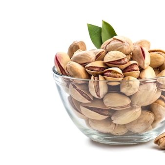 Pistachios in glass bowl