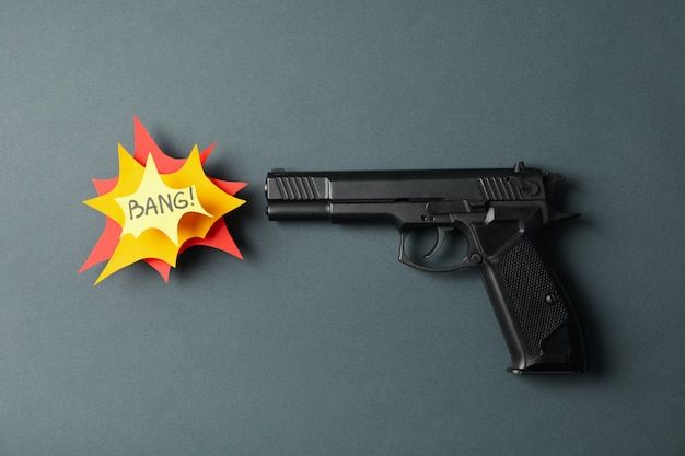 Pistol and text bang on black. self defense weapon