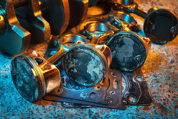 Pistons. garage auto repair background.