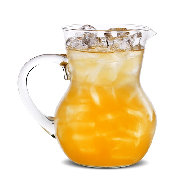 Pitcher with orange juice, isolated on white surface