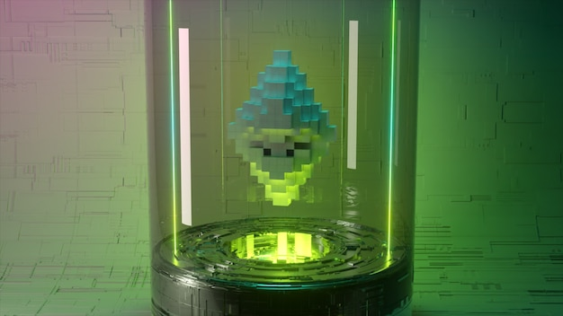 Pixel animation of ethereum coin symbol logo in glass capsule with neon lighting. ethereum coin 3d illustration