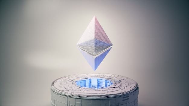 Pixel animation of ethereum coin symbol logo with neon lighting. ethereum coin 3d illustration