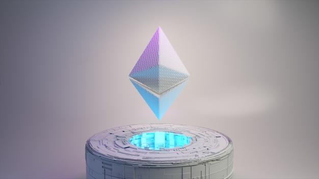 Пиксельная анимация логотипа символа монеты ethereum с неоновым освещением. монета ethereum 3d иллюстрация