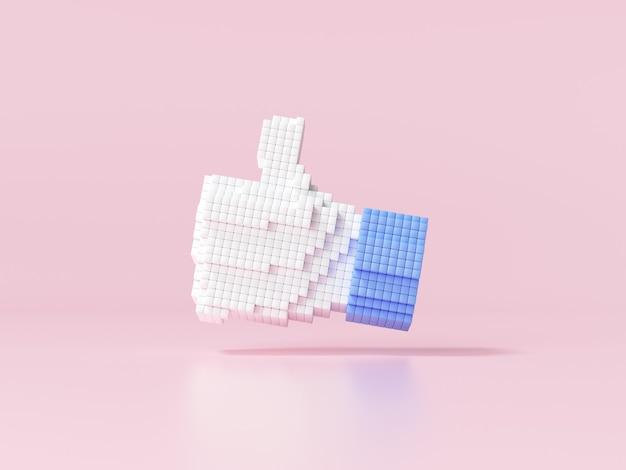 Pixel art like symbol for social media concept 3d render