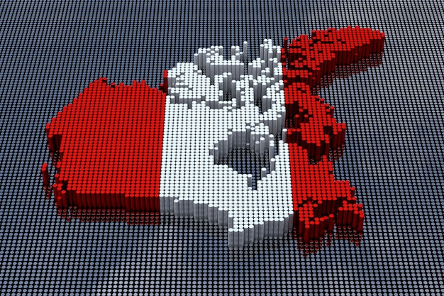 Pixel art style canada map with canada flag colors. 3d rendering