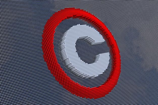 Авторские права в стиле пиксель-арт. 3d рендеринг