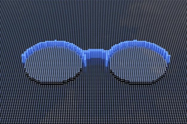 Очки в стиле пиксель-арт. 3d рендеринг