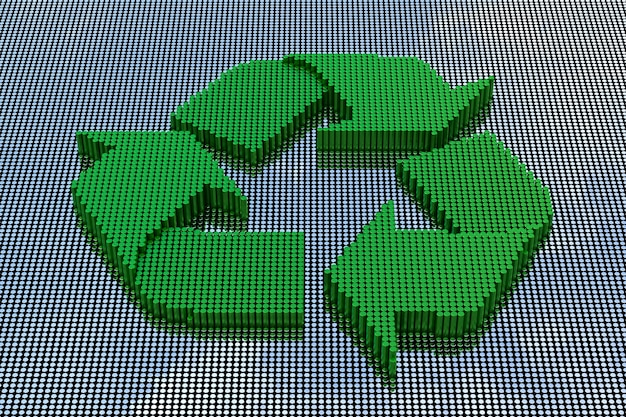 ピクセルアートスタイルのリサイクルシンボル。 3dレンダリング