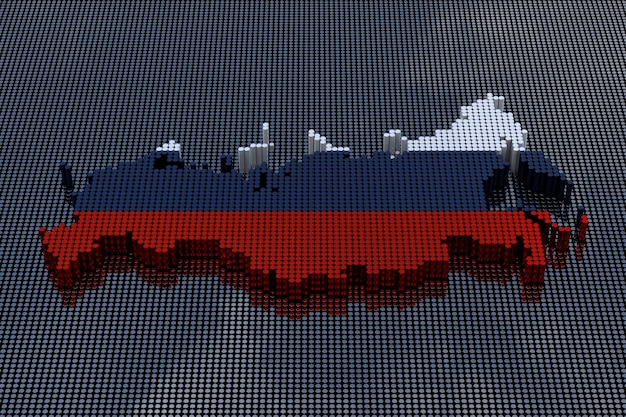 Pixel art style russia map with russia flag colors. 3d rendering