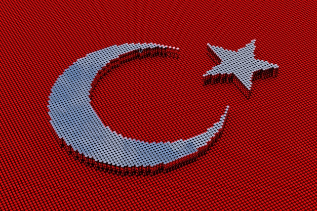 Pixel art style star and crescent. 3d rendering