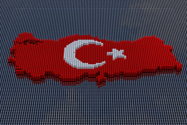 Pixel art style turkey map with star and crescent. 3d rendering