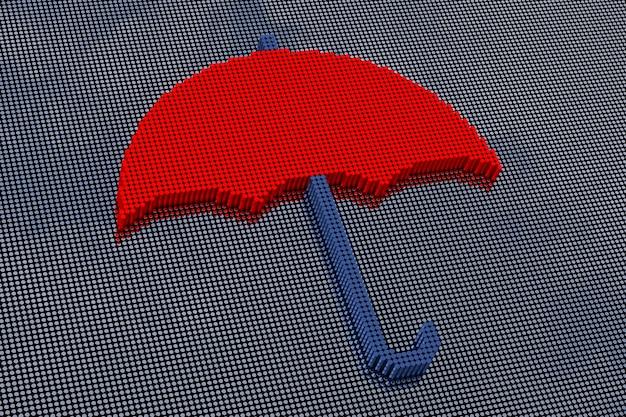 ピクセルアートスタイルの傘。 3dレンダリング