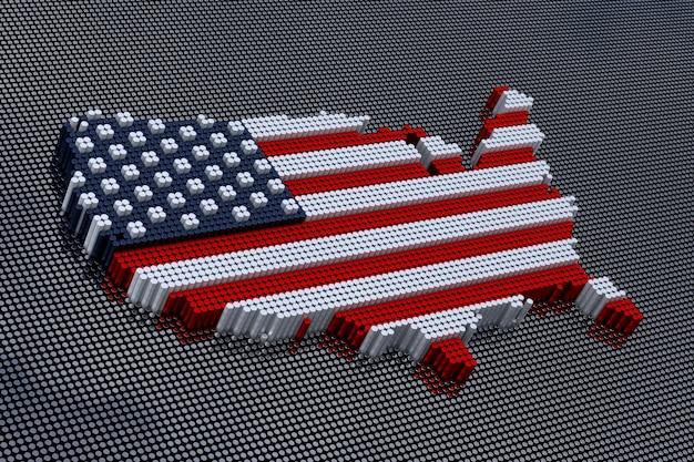 미국 국기 색상이 있는 픽셀 아트 스타일 미국 지도. 3d 렌더링