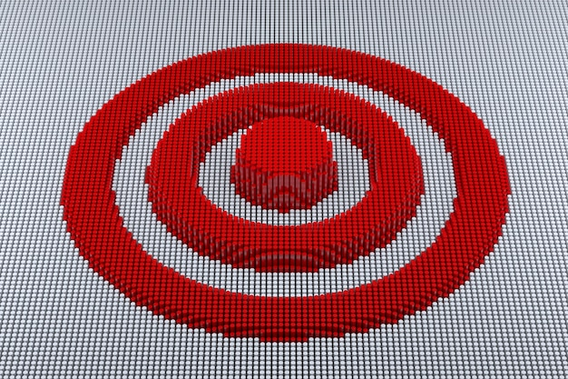 Pixel art target. 3d рендеринг