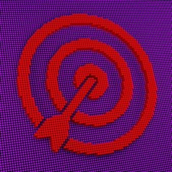 Pixel art target and arrow. 3d rendering
