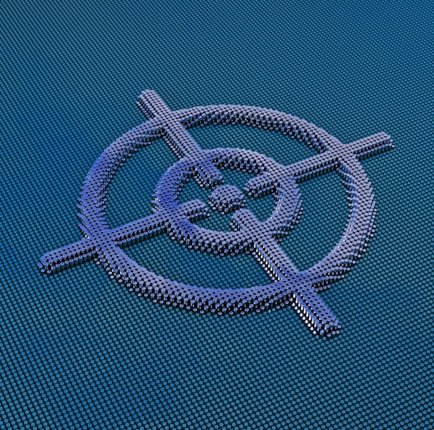 Пиксель арт целевой знак. 3d рендеринг
