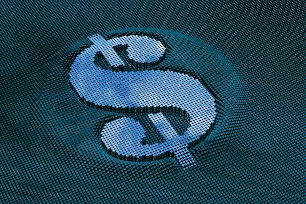 Pixel dollar symbol. metallic glossy character. 3d rendering