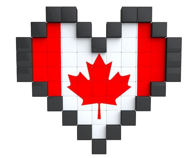 白い背景の上のカナダの旗としてのピクセルハート