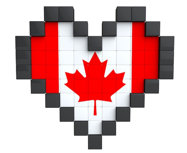 Pixel heart as canada flag on a white background