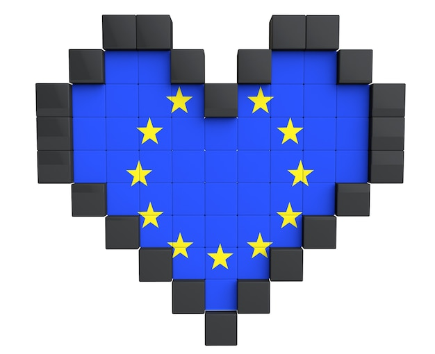 Pixel heart as europe union flag on a white background