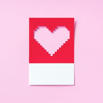 Pixelated heart shape 3d illustration