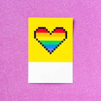Pixelated lgbt pride rainbow heart