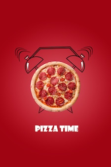 Пицца и будильник рисованной иллюстрации на красном фоне надпись pizza time