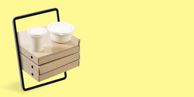 ピザとコーヒーインターネットを介した宅配食品の発注書スマートフォン