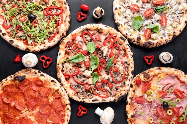 Pizza composition on stucco background