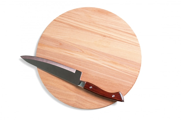 Pizza cutting board and knife isolated