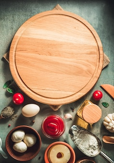 Pizza cutting board at table