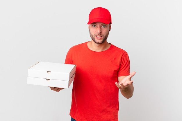 Pizza deliver man looking angry, annoyed and frustrated