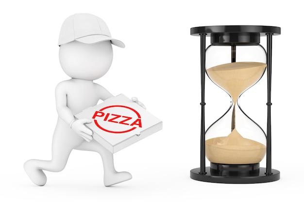 ピザ配達のコンセプト。手にピザボックスを持つ3dキャラクターピザディーラーは、白い背景の上の砂時計の近くにピザを配達するために急いで実行されます。 3dレンダリング