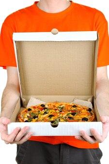 피자 배달 택배 흰색 절연