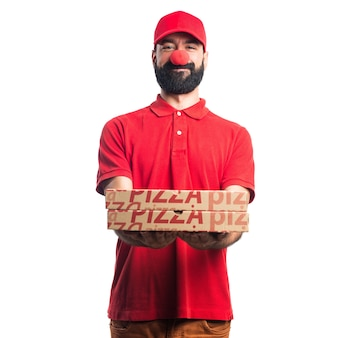 Pizza delivery man doing a joke