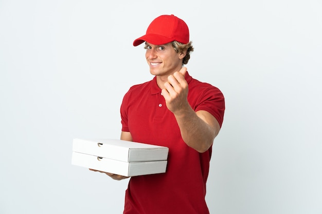 고립 된 만드는 돈 제스처에 피자 배달 남자