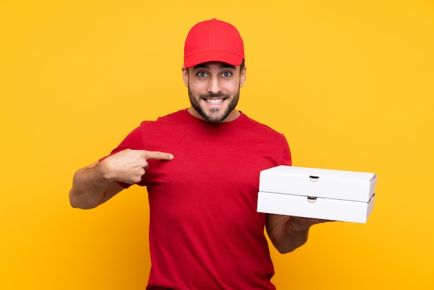 Pizza delivery man with red cap and tshirt