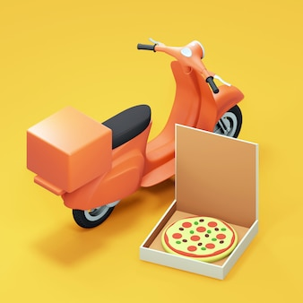 Pizza delivery scooter and pizza box. 3d render
