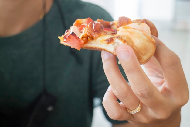 Pizza fast food in the office, stock photo