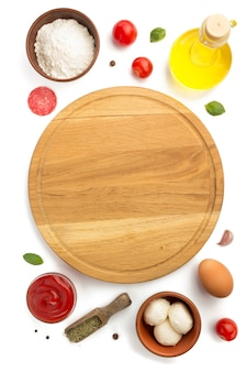 Pizza ingredients isolated on white