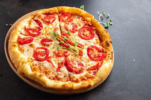 Pizza margarita tomato cheese mozzarella tomato sauce dough italian food fresh vegetarian food