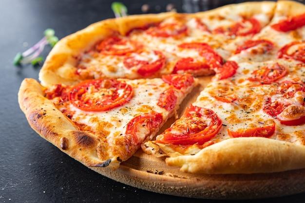 Pizza margarita tomato cheese tomato sauce dough italian food fresh portion ready to eat meal