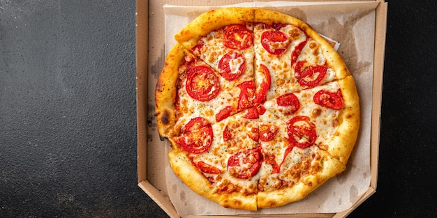 Pizza margarita vegetarian food tomato cheese mozzarella fast food ready to eat meal snack