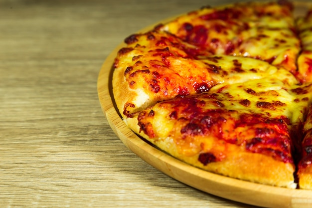 Pizza margarita with mozzarella cheese