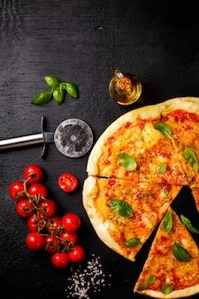 Pizza margarita with mozzarella