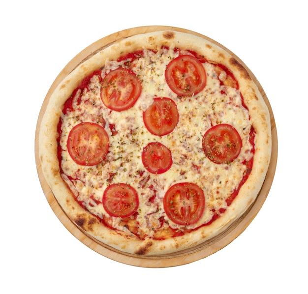 白い表面の上面図で分離されたピザマルゲリータ