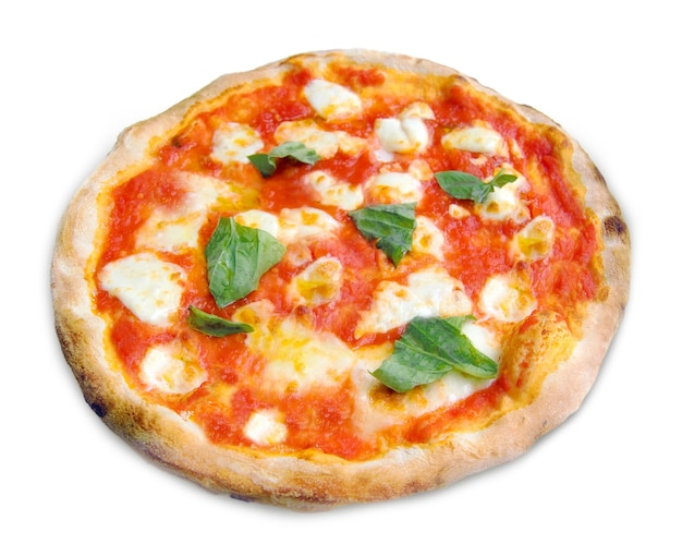 Pizza margherita with mozzarella, tomatoes and basil isolated on white background.
