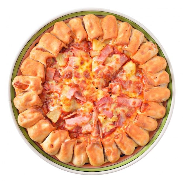 分離された白のピザ