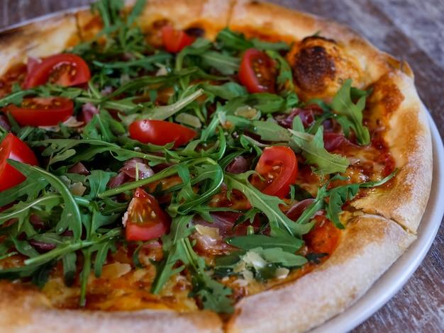 Pizza on a restaurant table